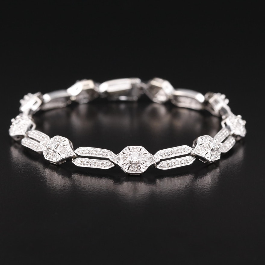 14K 1.41 CTW Diamond Link Bracelet with Milgrain Detail