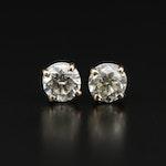 14K 2.05 CTW Diamond Solitaire Stud Earrings