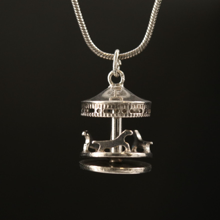 Sterling Silver Articulated Carousel Pendant Necklace
