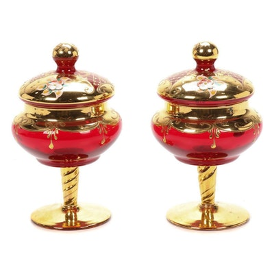 Pair of Murano Italian Art Glass Lidded Compotes