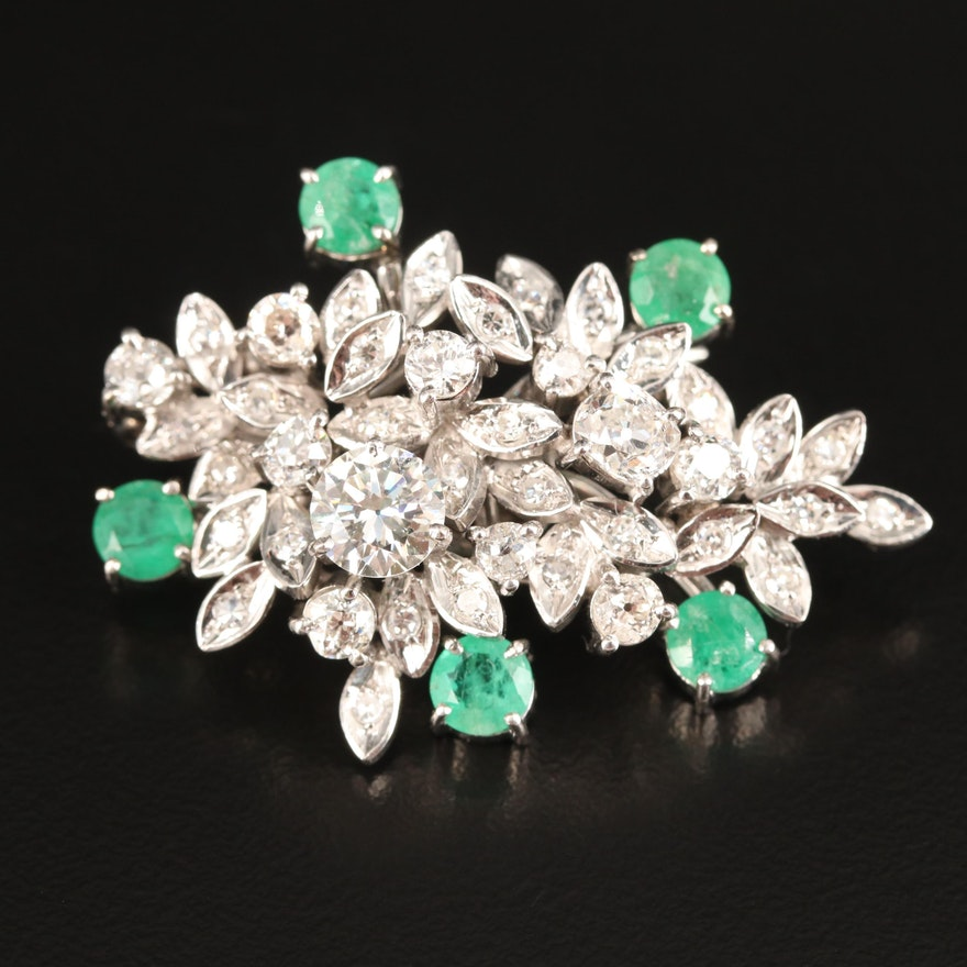 14K 2.55 CTW Diamond Converter Brooch with Detachable Emerald Enhancer