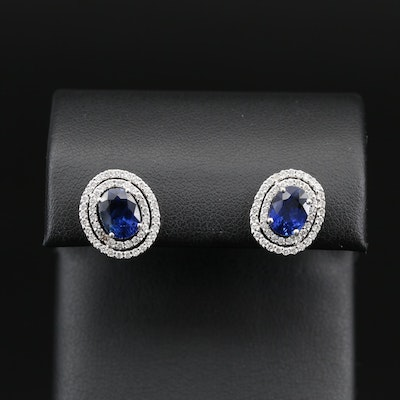 14K 3.10 CTW Sapphire and Diamond Double Halo Stud Earrings