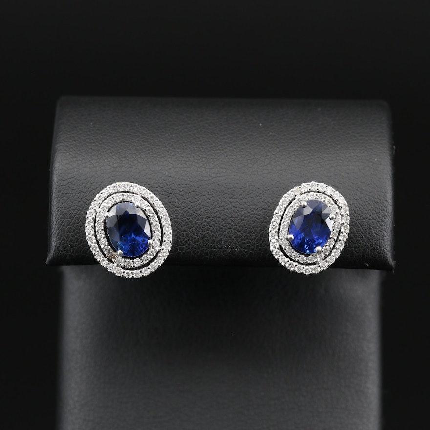 14K 3.10 CTW Sapphire and Diamond Double Halo Stud Earrings