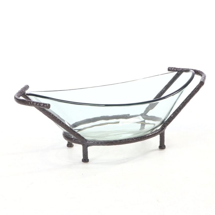 Oval Glass Centerpiece Bowl and Metal Stand with Handles