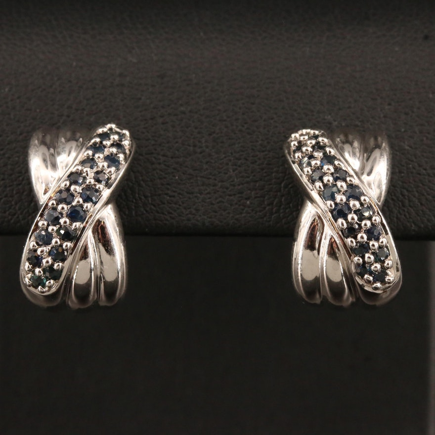 Sterling Silver Sapphire Crossover Earrings