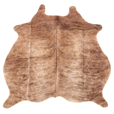 4'7 x 5'10 Natural Light Brindle Cow Hide Area Rug