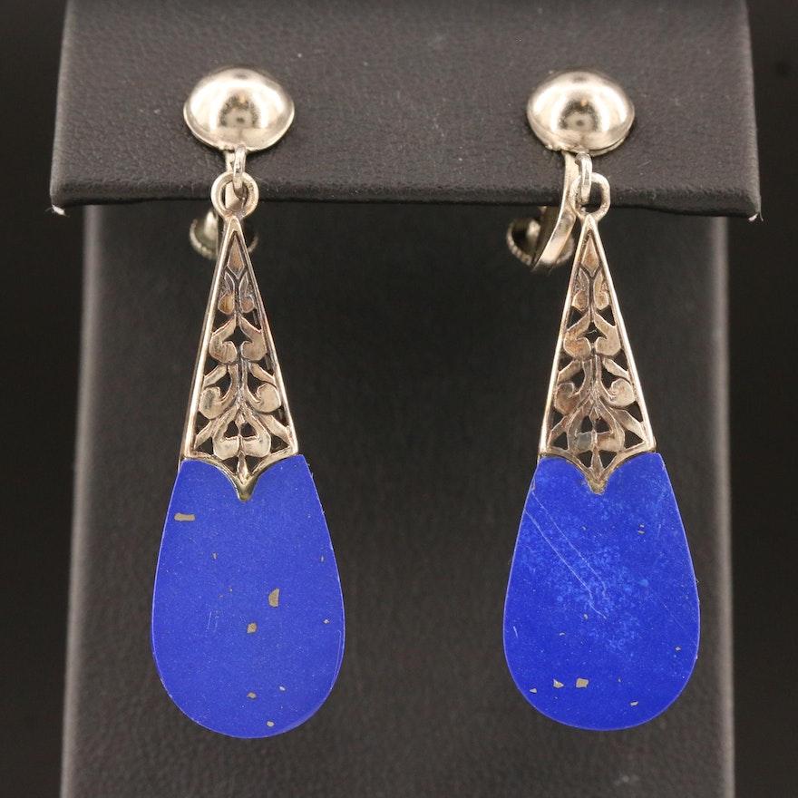 Sterling Silver Faux Lapis Lazuli Dangle Earrings