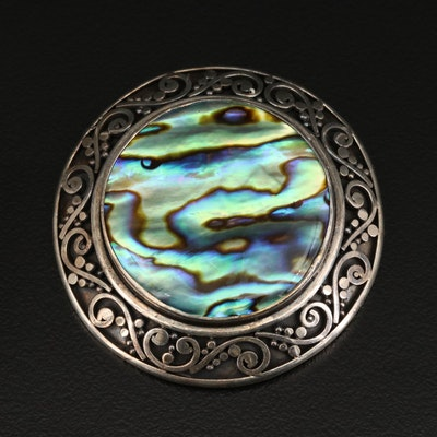 Sterling Silver Abalone Converter Brooch