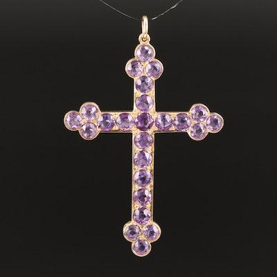 14K Amethyst Cross Pendant