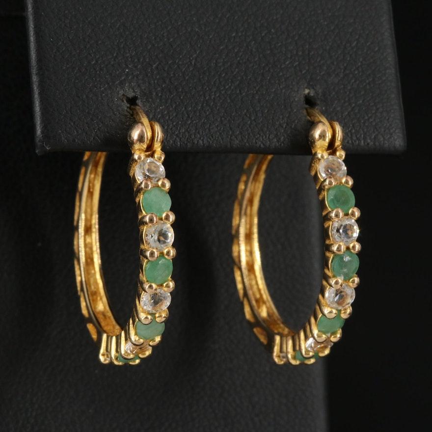 Sterling Silver Emerald and Topaz Hoop Earrings