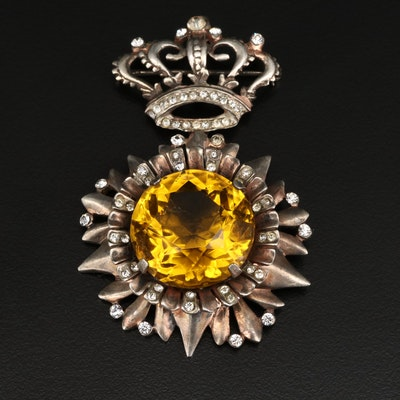 Vintage Rhinestone Crown Design Brooch with Dangle Floral Pendant