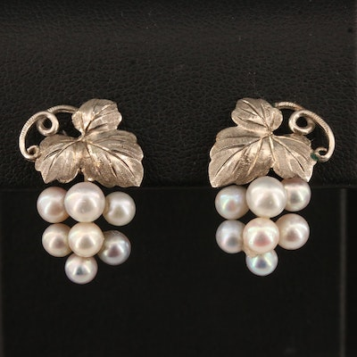 Vintage Sterling Silver Pearl Grape Cluster Earrings