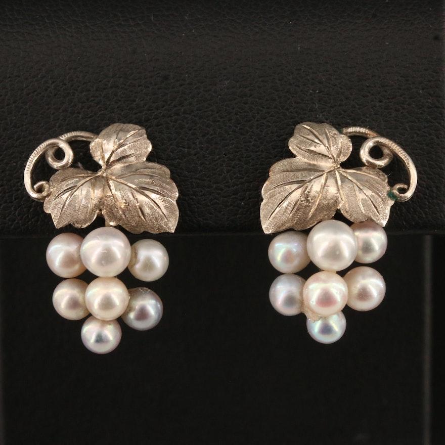 Vintage Sterling Silver Pearl Grape Cluster Earrings