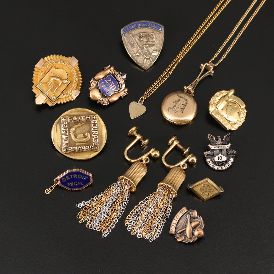 Assorted Jewelry Selection Featuring Vintage Carved and Recognition Pins