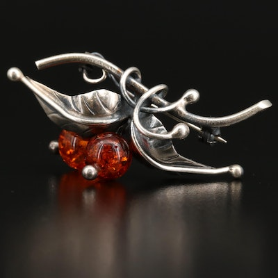 Vintage Sterling Silver and Amber Foliate Brooch