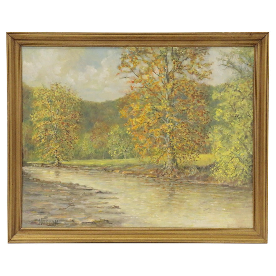 Impressionist Style Riverbed Landscape, Late 20th Century