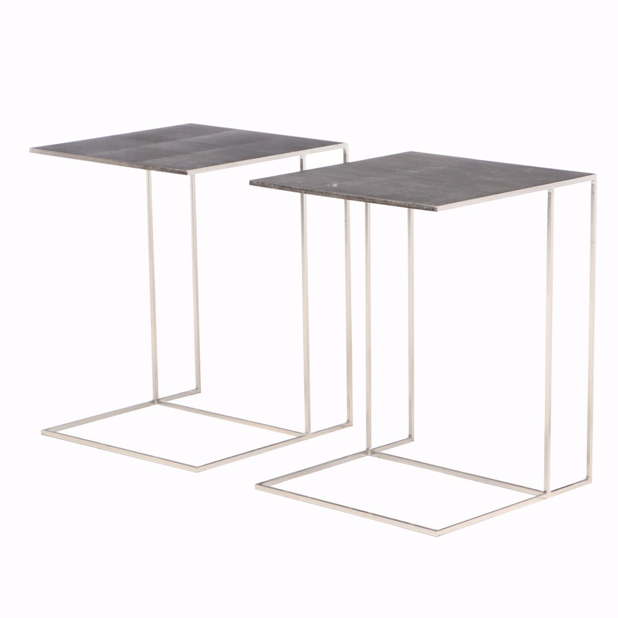 """Pair of Rodolfo Dordoni for Minotti """"Leger"""" Iron and Lapped Plate Side Tables"""