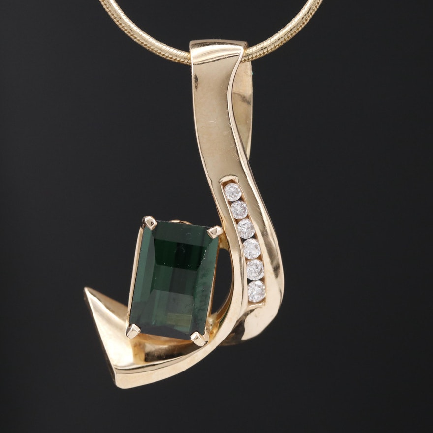 14K Tourmaline and Diamond Freeform Pendant Necklace
