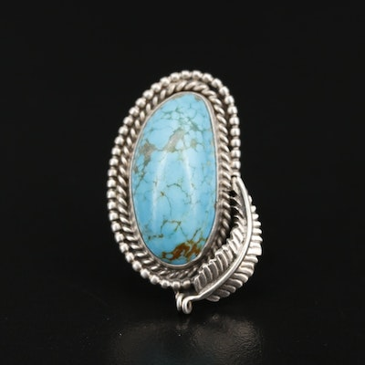 Western Style Sterling Turquoise Ring with Feather Accent