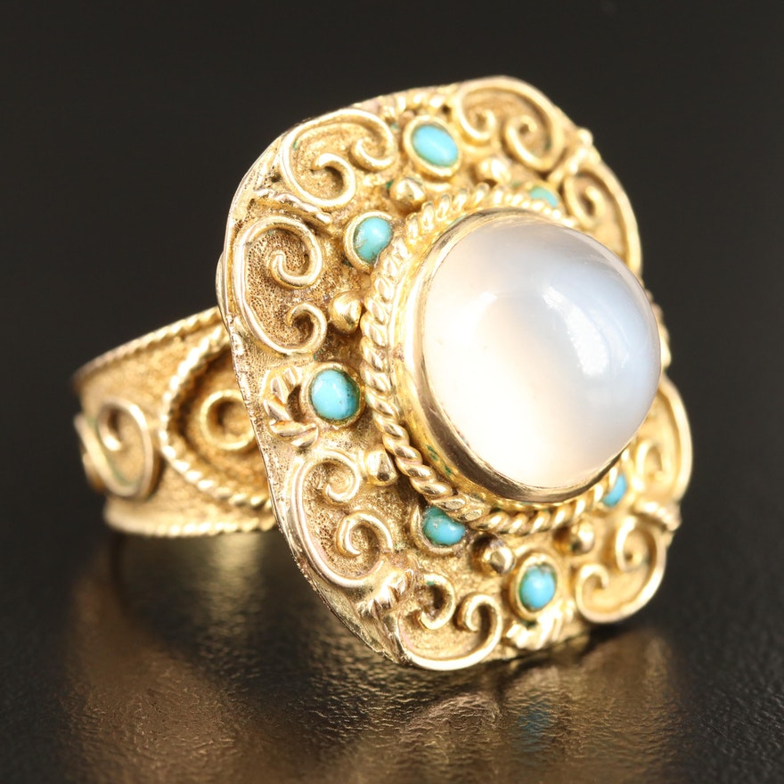 Etruscan Style 14K Moonstone and Turquoise Ring