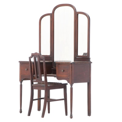 Federal Style Walnut-Veneered and Stained Dressing Table Plus Side Chair