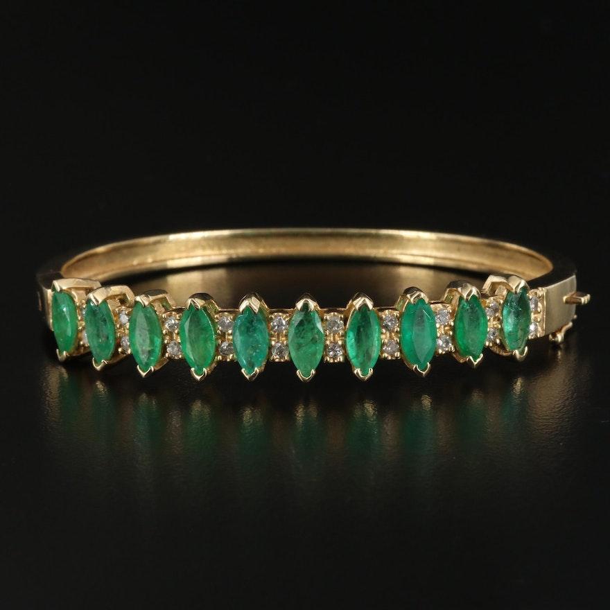 14K Emerald and Diamond Hinged Bangle