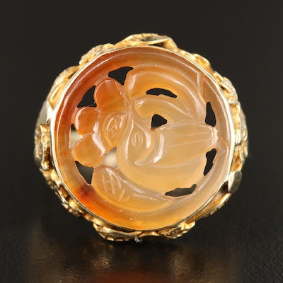 14K Carved Dendritic Agate Ring with Bird Motif