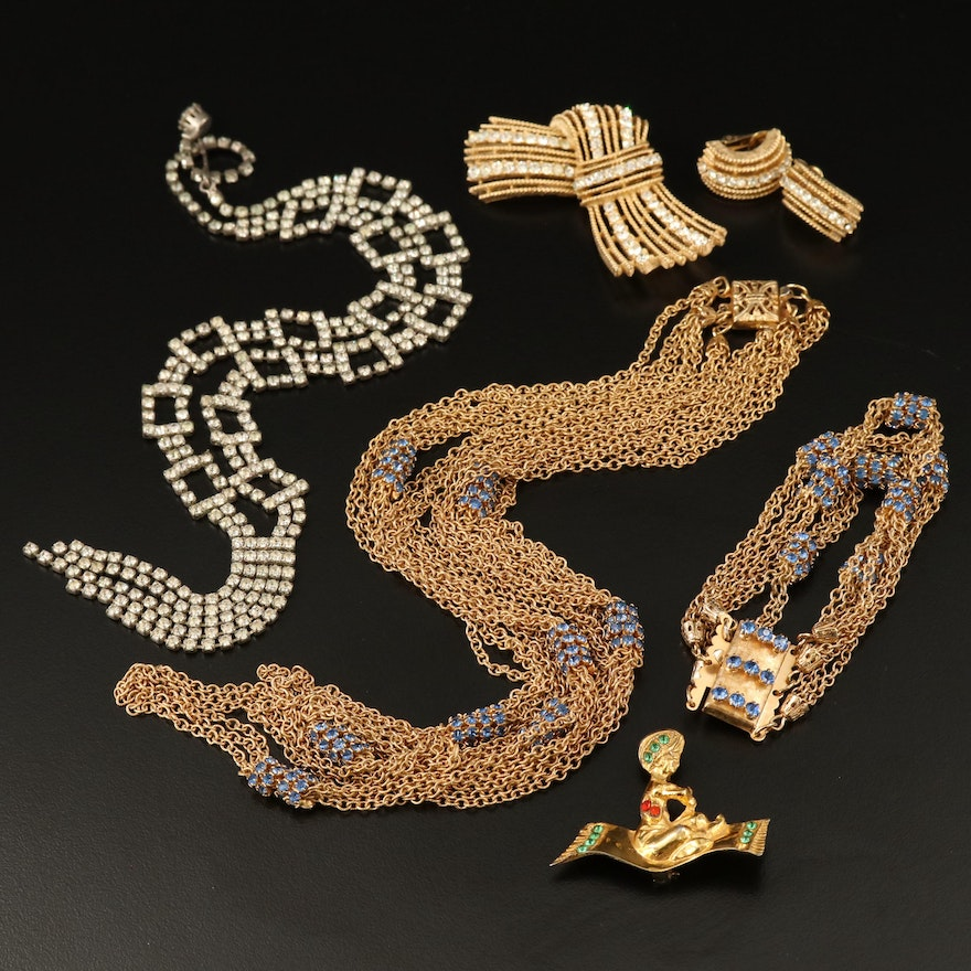 Vintage Jewelry with Glass and Crystal Including Flying Carpet Brooch