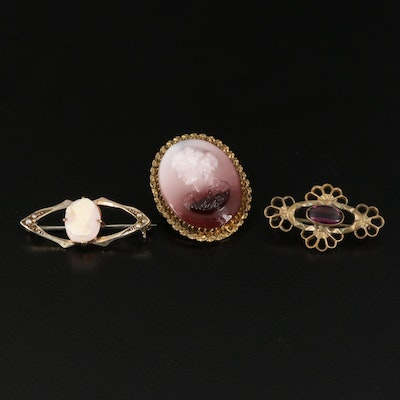Collection of Antique Brooches Including Cameos