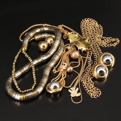 Jewelry Lot Including Rhinestone Bear Necklace