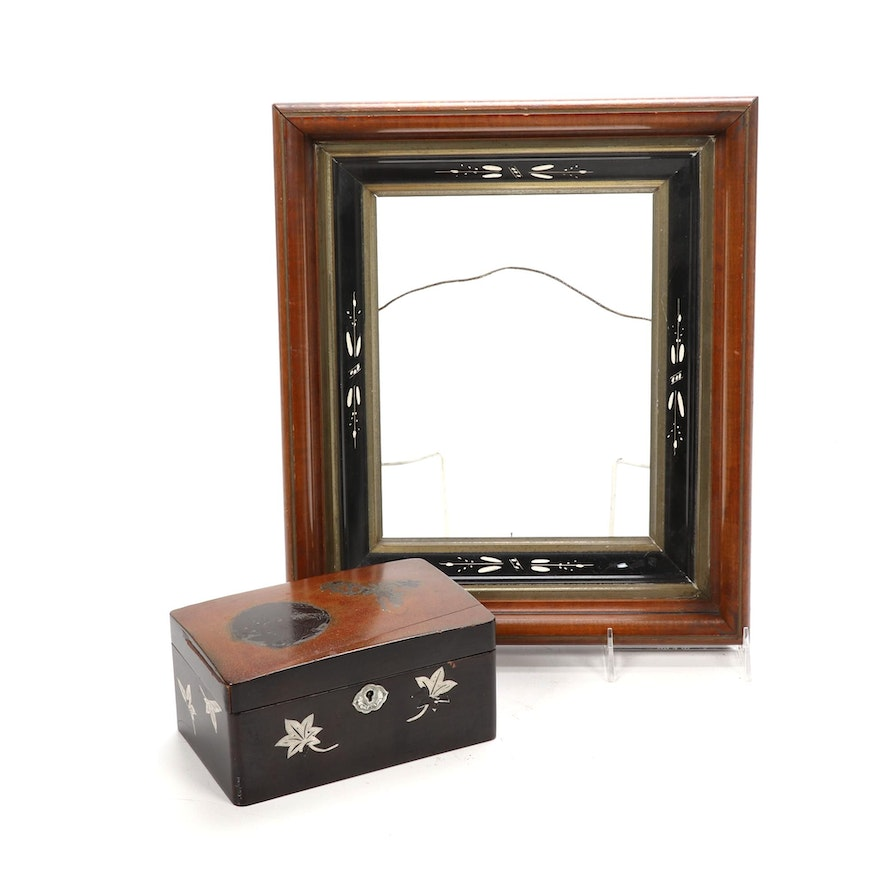 Walnut and Ebonized Picture Frame with Black Lacquered Box