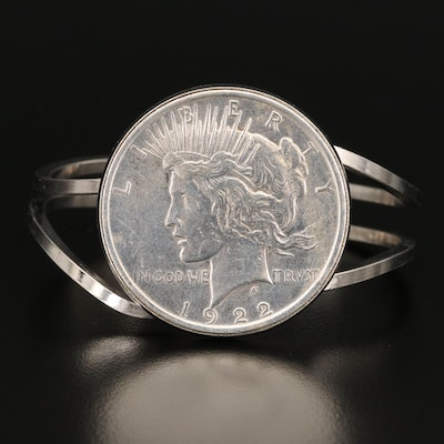 Hinged Bangle with 1922 Peace Silver Dollar Coin
