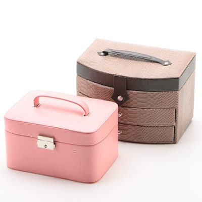 Gem Pak Pink and Taupe Embossed Reptile Faux Leather Jewelry Cases