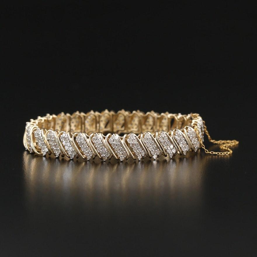 10K 5.07 CTW Diamond Fancy Link Bracelet