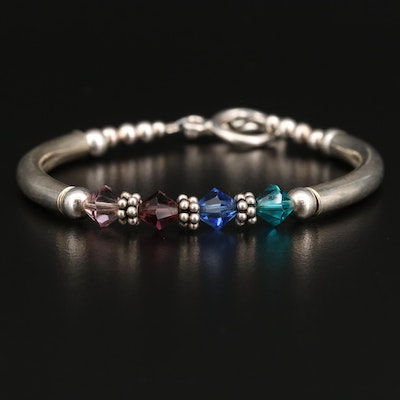 Sterling Silver Bracelet with Faceted Glass Accents