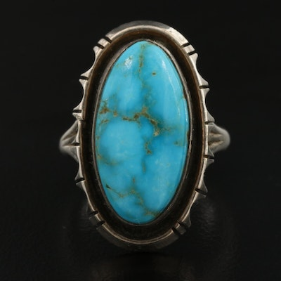 Southwestern Style Sterling Silver Oval Turquoise Ring