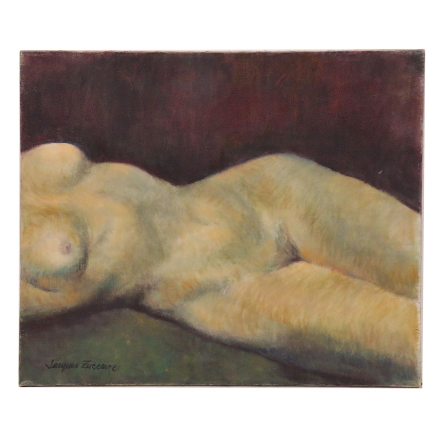 Jacques Zuccaire Oil Painting Reclining Female Nude, Late 20th Century