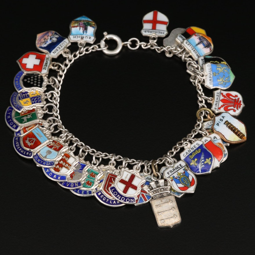 Vintage Sterling Silver Travel Charm Bracelet
