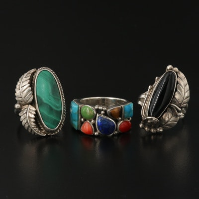 Southwestern Style Sterling Silver Rings with Coral, Malachite and Black Onyx