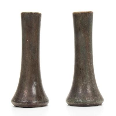 Weller Bronze Finished Eartheware Bud Vases