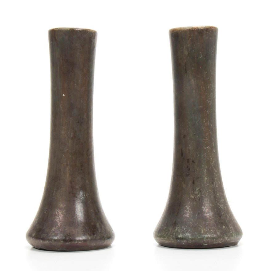 Weller Bronze Finished Eartheware Bud Vases