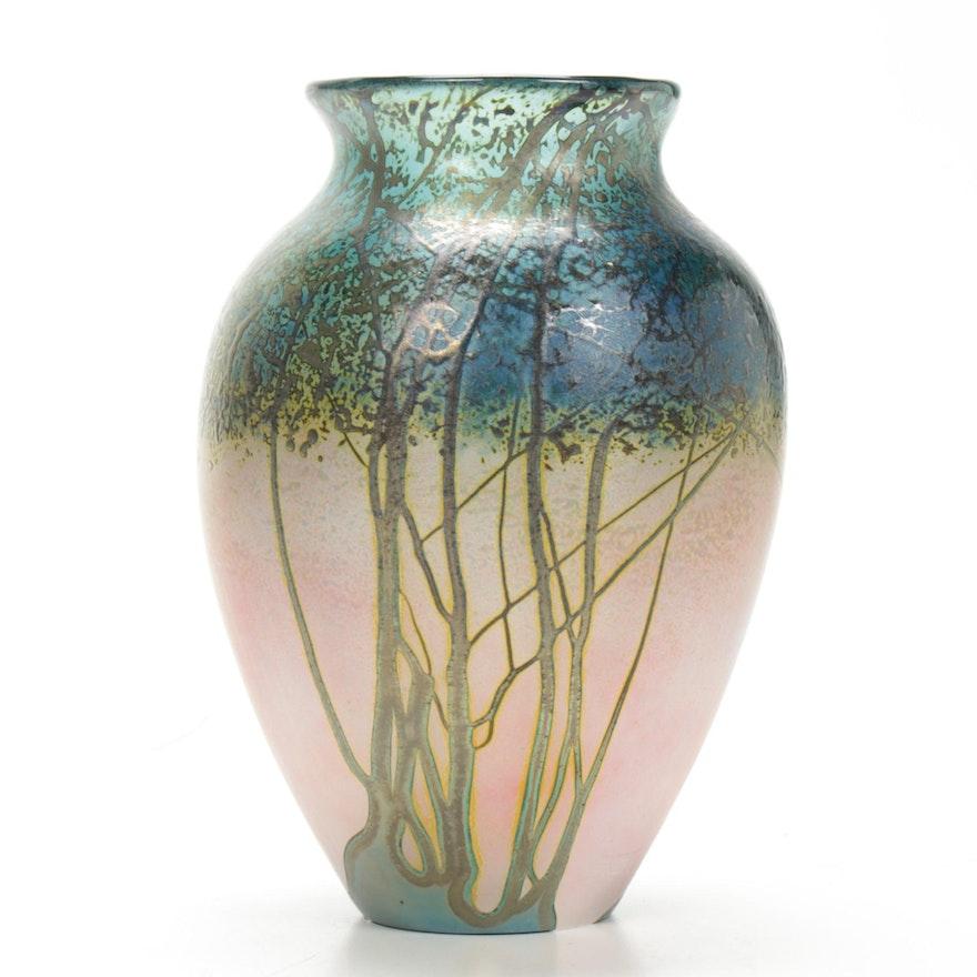"Peet Robison ""Sunrise"" Art Glass Vase"
