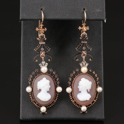 14K Carved Sardonyx, Pearl and Diamond Cameo Dangle Earrings