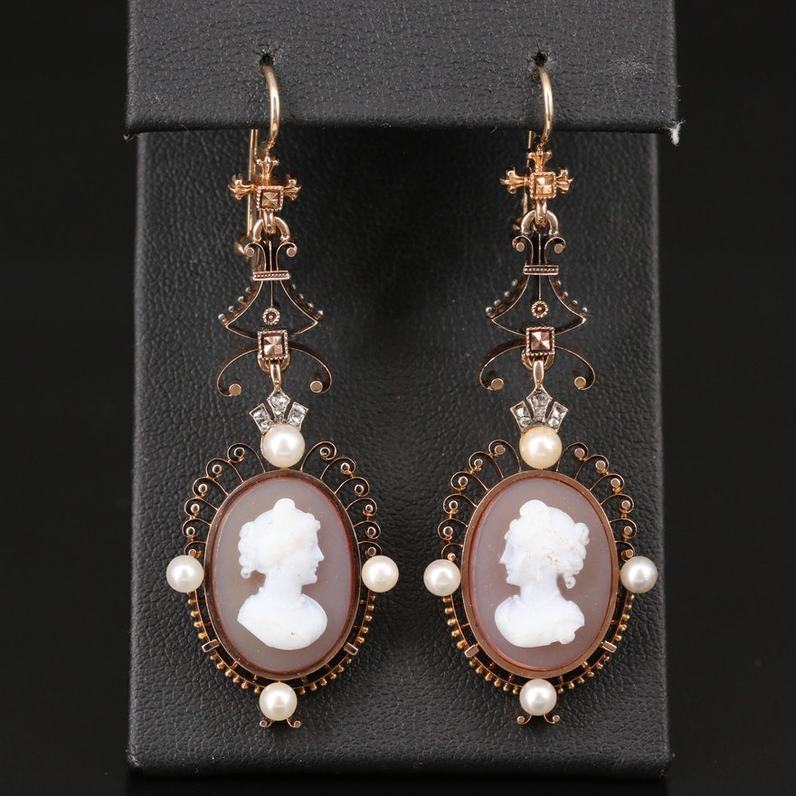 14K Carved Sardonyx, Pearl and Diamond Cameo Dangle Earrings