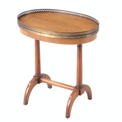 Baker Furniture Ash and Brass-Galleried Side Table
