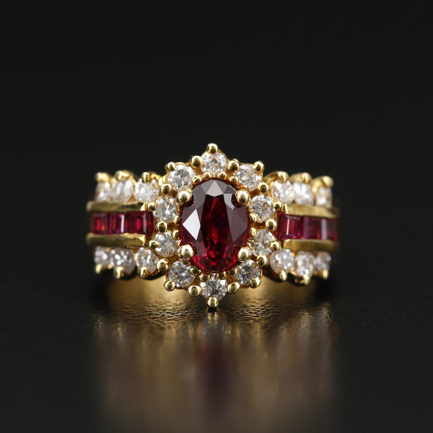 18K 1.17 CT Ruby and Diamond Ring