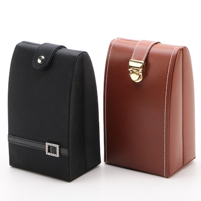 Jeun Bang Faux Leather and Fabric Folding Jewelry Boxes