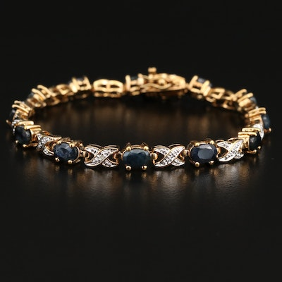 Sterling Silver Sapphire and Diamond X Link Bracelet