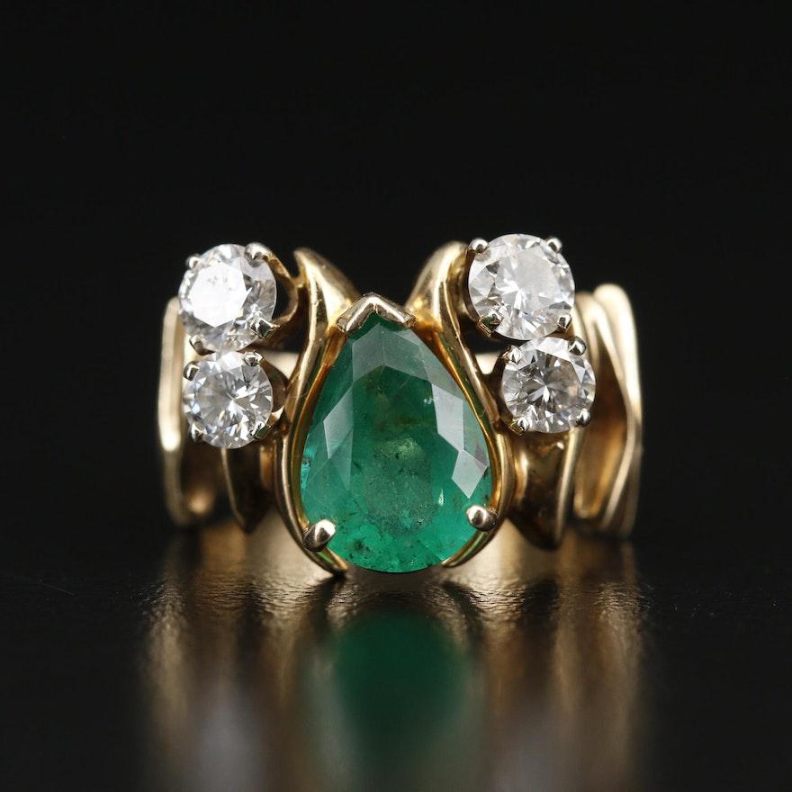 14K Emerald and 1.41 CTW Diamond Ring