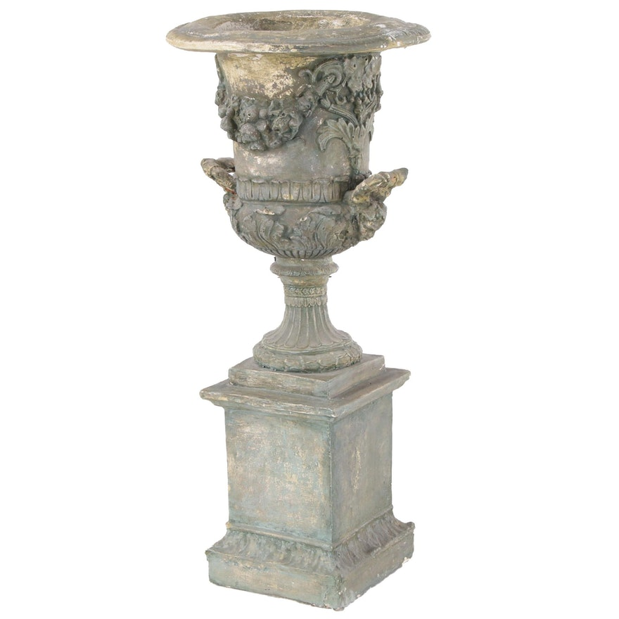 Neoclassical Planter Urn on Columnular Base
